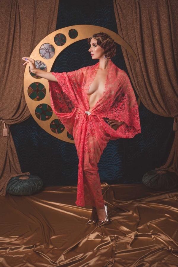 kimono koronkowe maxi
